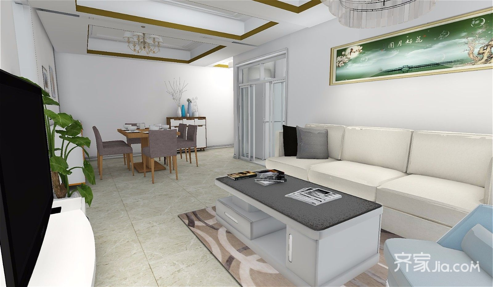 73平简约三居室装修沙发背景墙设计效果图