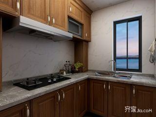 106㎡中式韵味装修厨房设计图