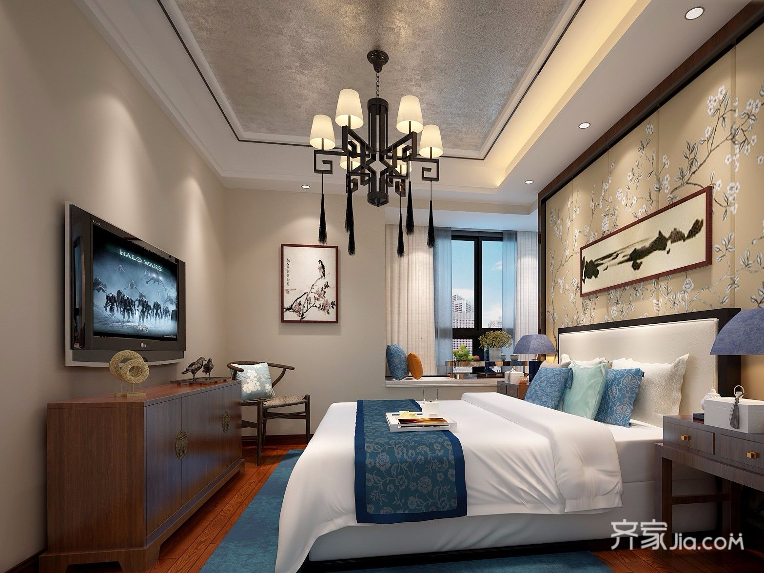 90平中式装修卧室设计图