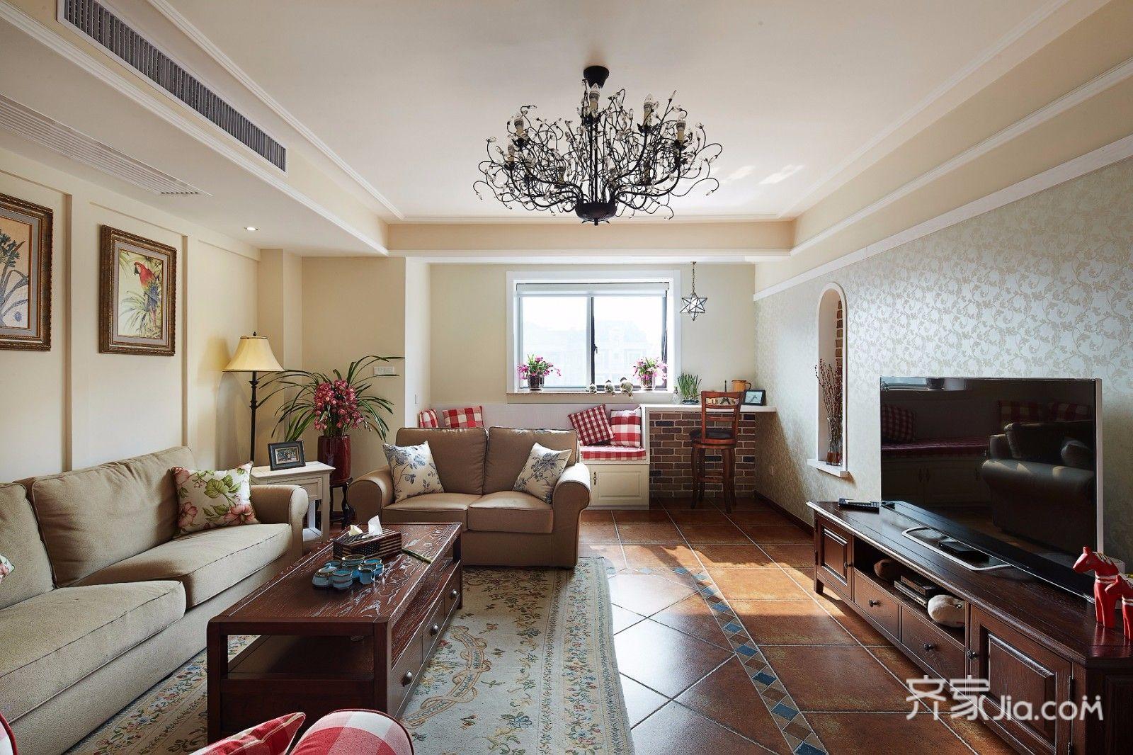 三居室美式风格装修客厅效果图
