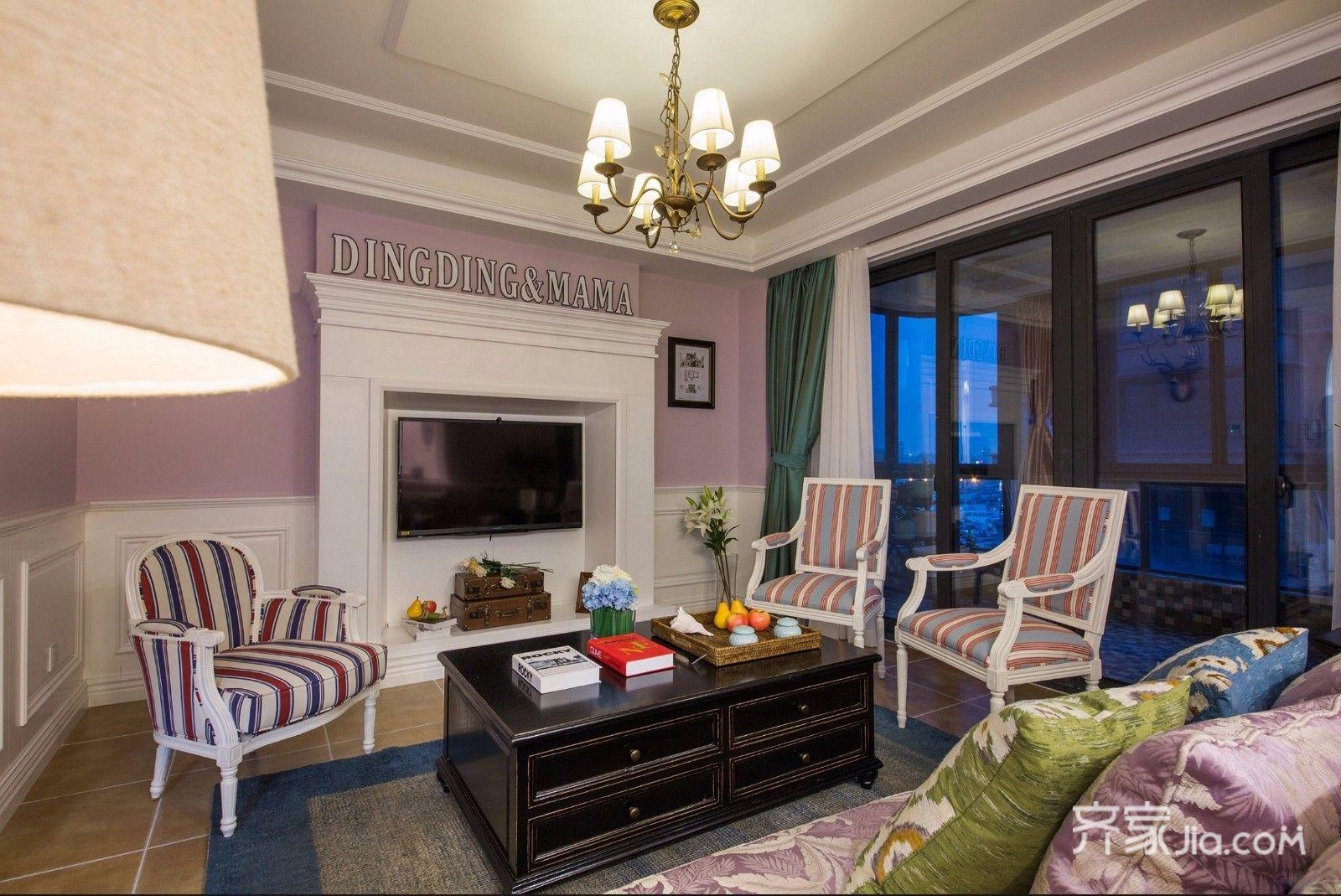 二居室温馨美式装修客厅效果图
