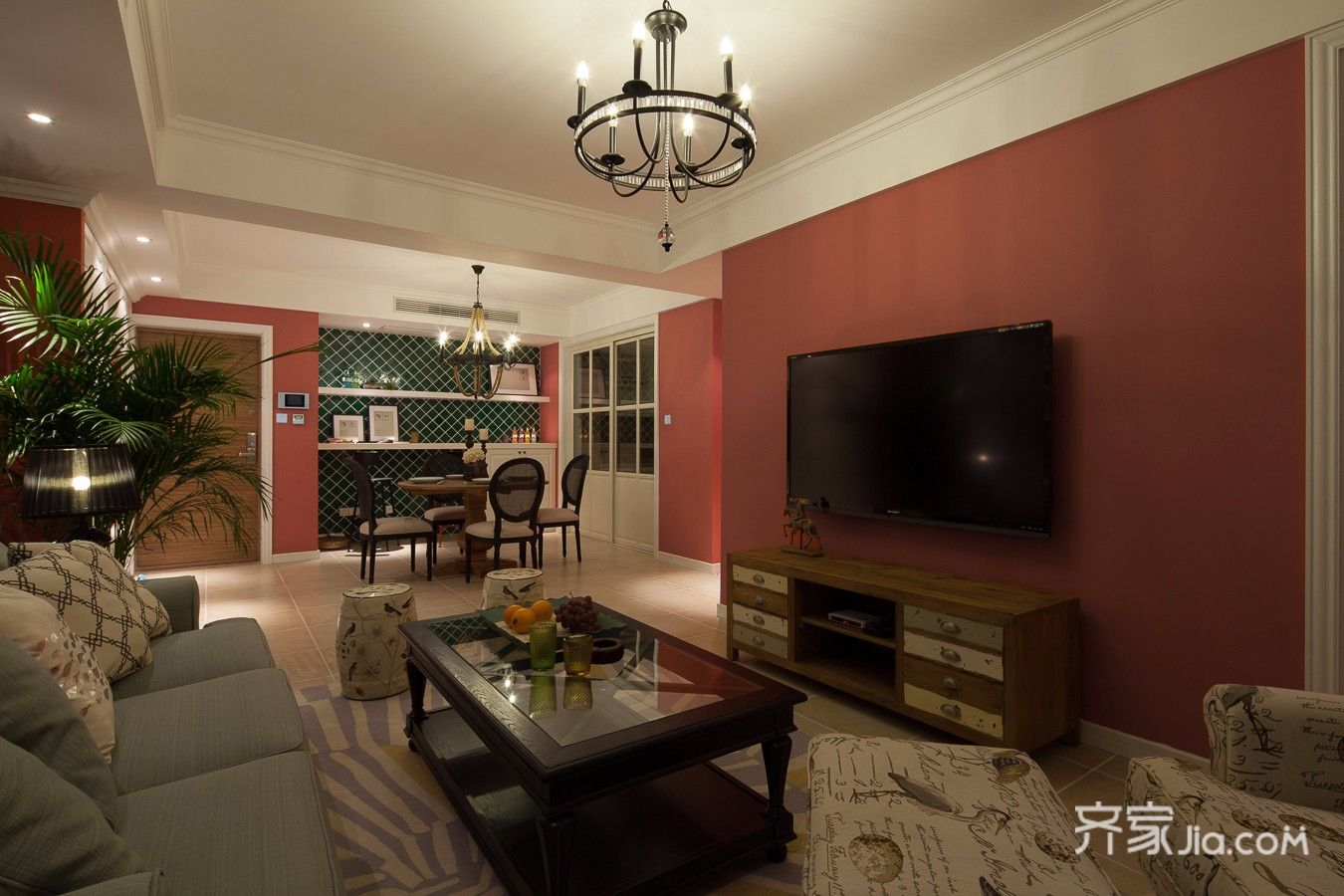 二居室混搭风格家电视背景墙