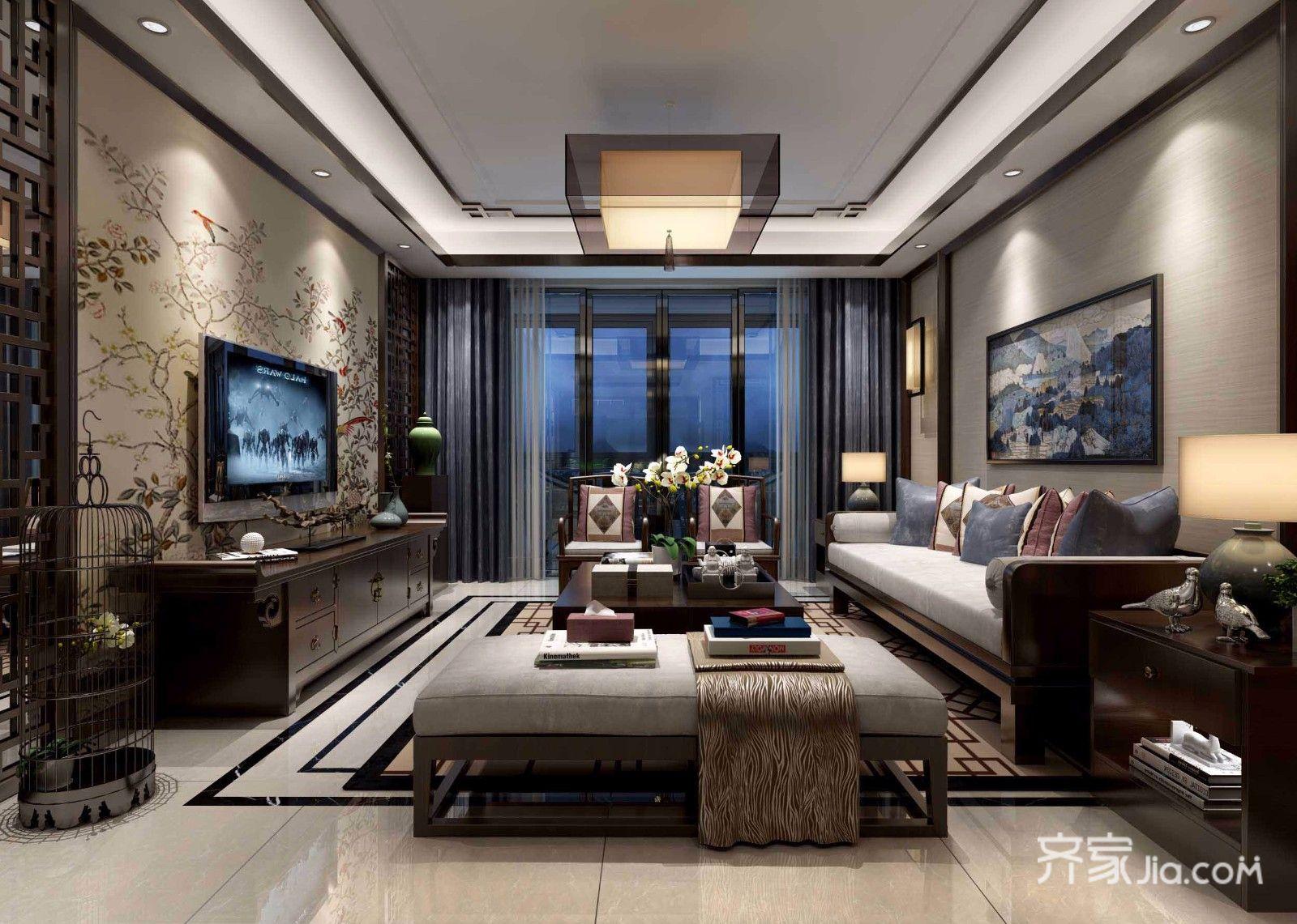 188平中式风格装修客厅效果图