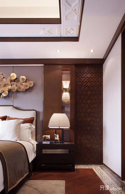 150平四居室中式韵味之家卧室吊顶
