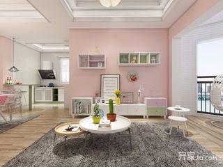 少女心满溢的粉色简约家客厅背景墙