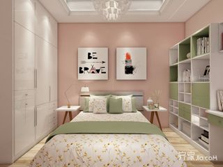 少女心满溢的粉色简约家卧室背景墙图片