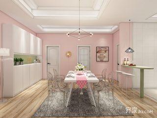 少女心满溢的粉色简约家餐厅背景墙