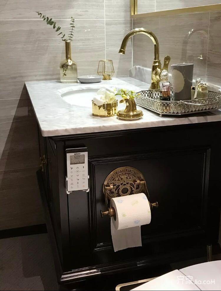 120平混搭风格装修浴室柜图片