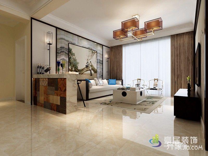 简约大气的中式装修客厅效果图