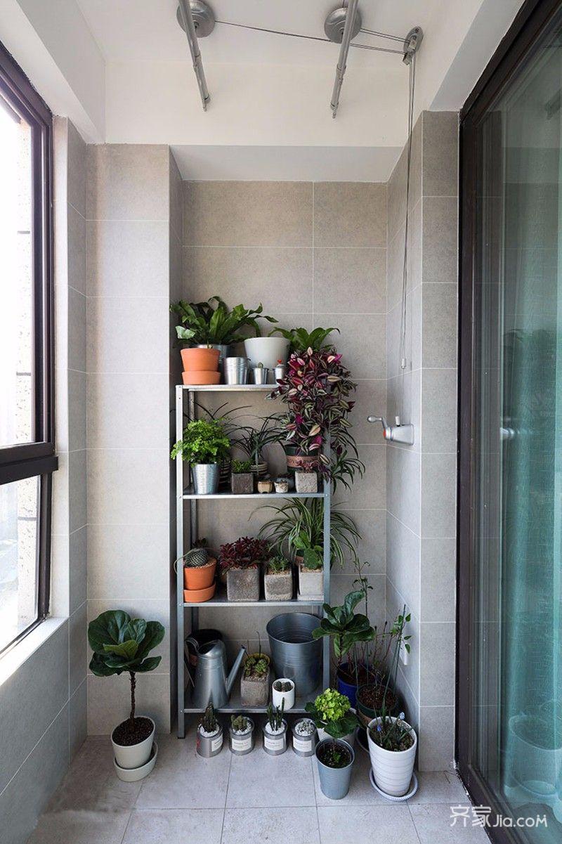 二居室简约风格装修阳台花架图片