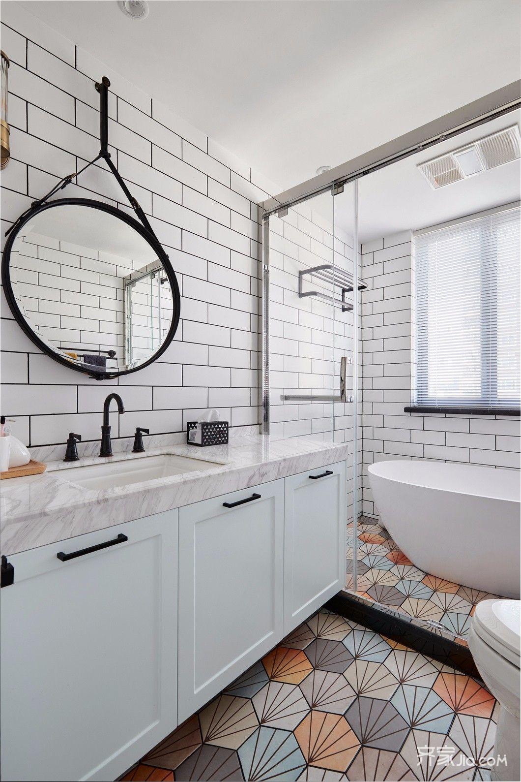 140平简约风格装修卫生间设计图