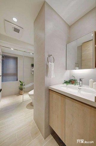 80平欧式风格装修卫生间实景图