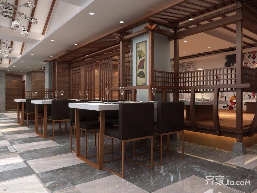工装中式会所装修茶水桌图片
