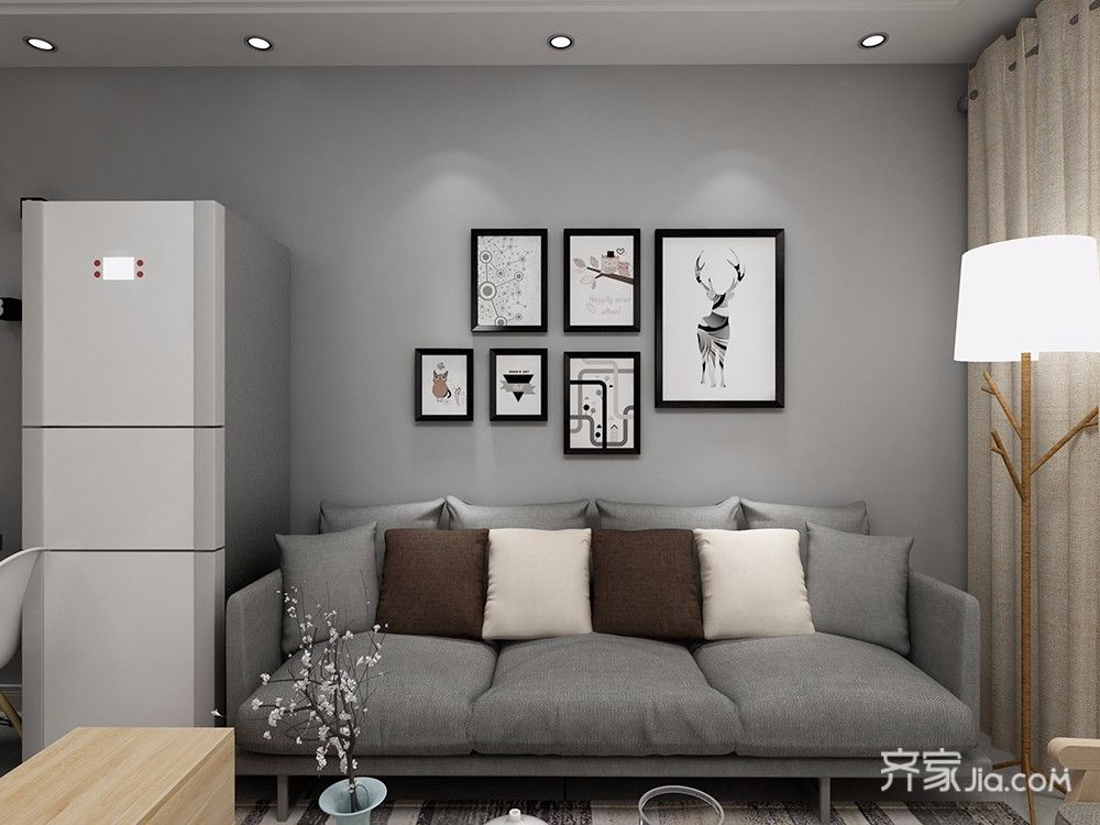 95平北欧风格装修客厅背景墙装饰图