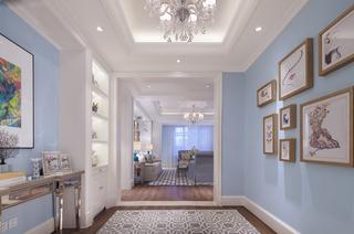 蓝色调美式风格书房装修效果图