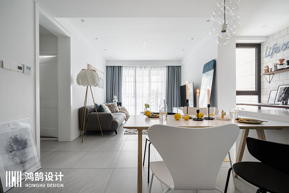 85㎡北欧风两居装修餐桌图片