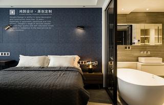 三居室现代风格家卧室背景墙图片