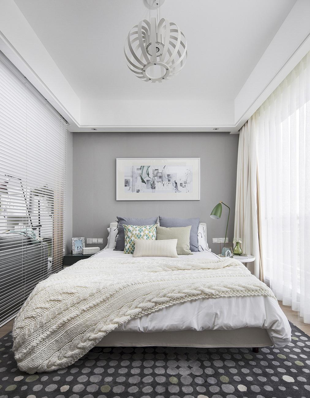 北欧风公寓样板间装修卧室吊顶效果图