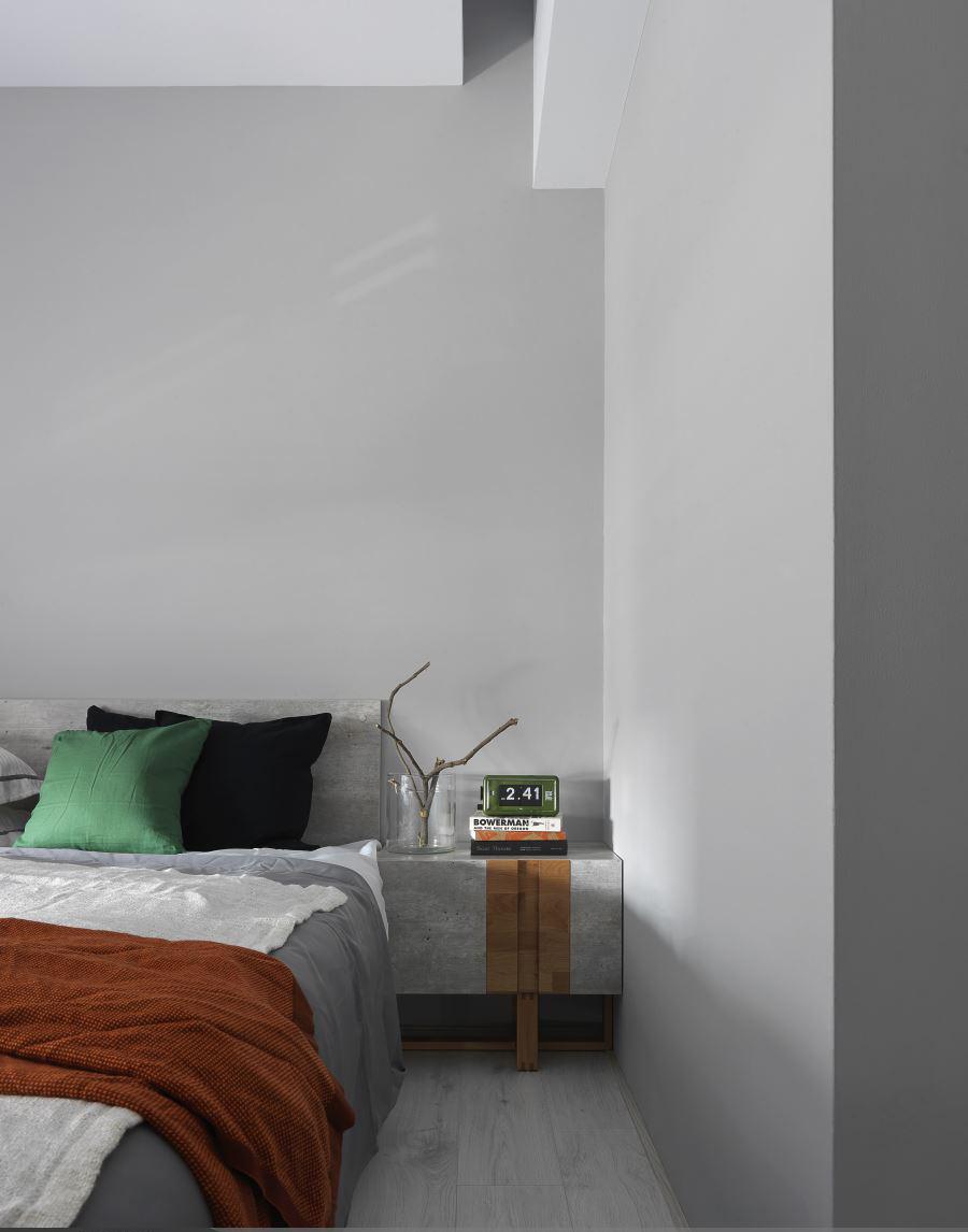 黑白极简现代风装修床头柜图片