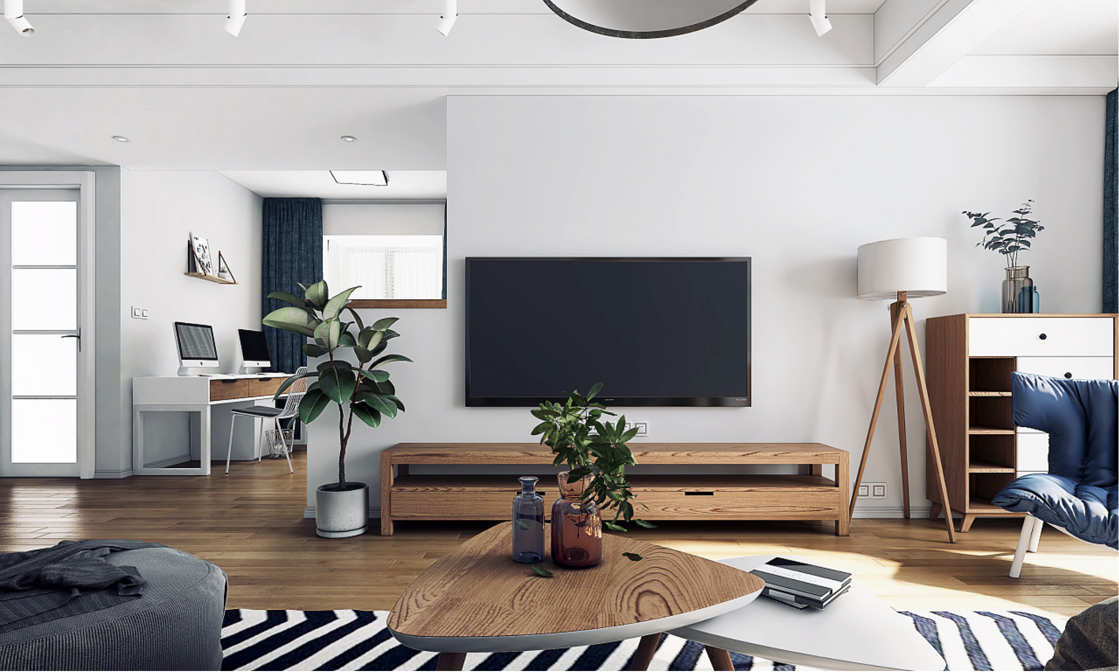 二居室北欧风格装修电视背景墙效果图