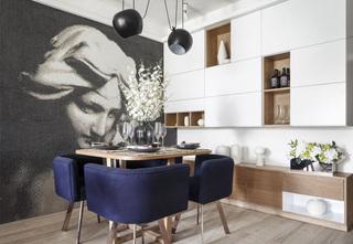 现代风格二居室装修餐厅背景墙设计图