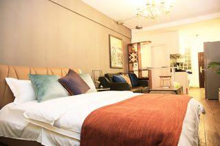 小户型复古现代风格装修卧室背景墙图片