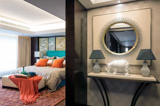 大户型新中式四居装修卧室玄关设计图