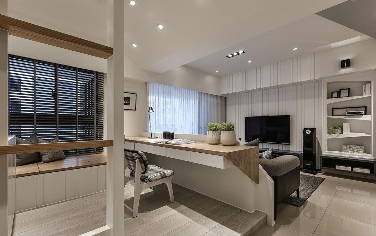 现代简约风格二居室装修书桌效果图