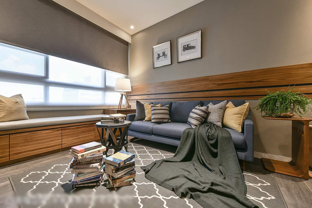 现代混搭风格三居沙发背景墙装修效果图