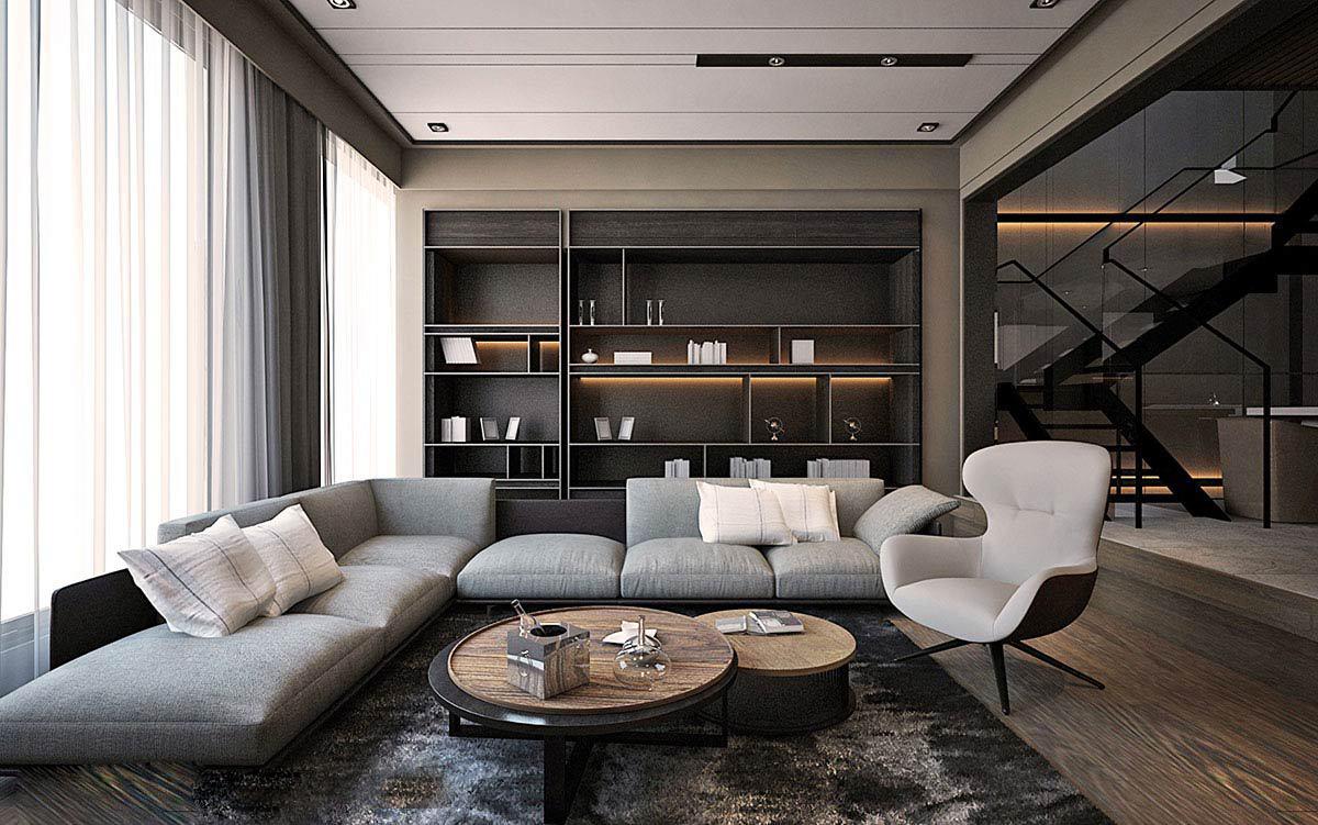 现代风格别墅沙发背景墙装修设计效果图