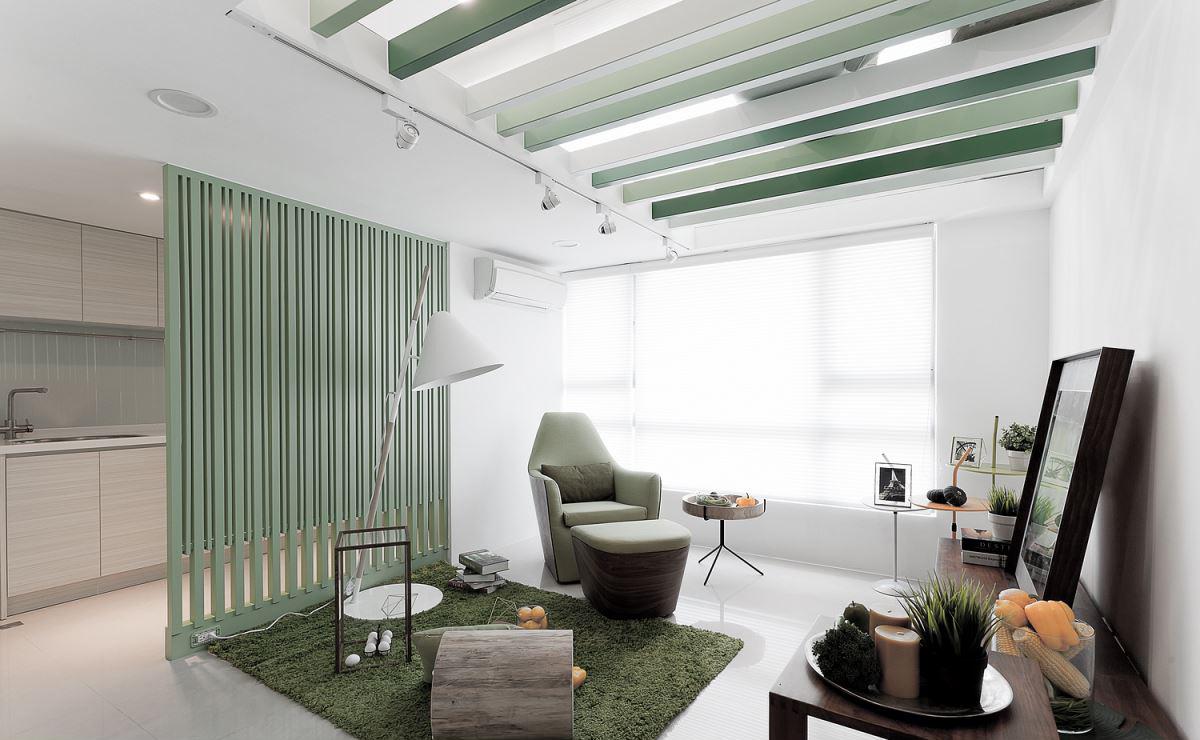 60平简约清新公寓客厅装修效果图
