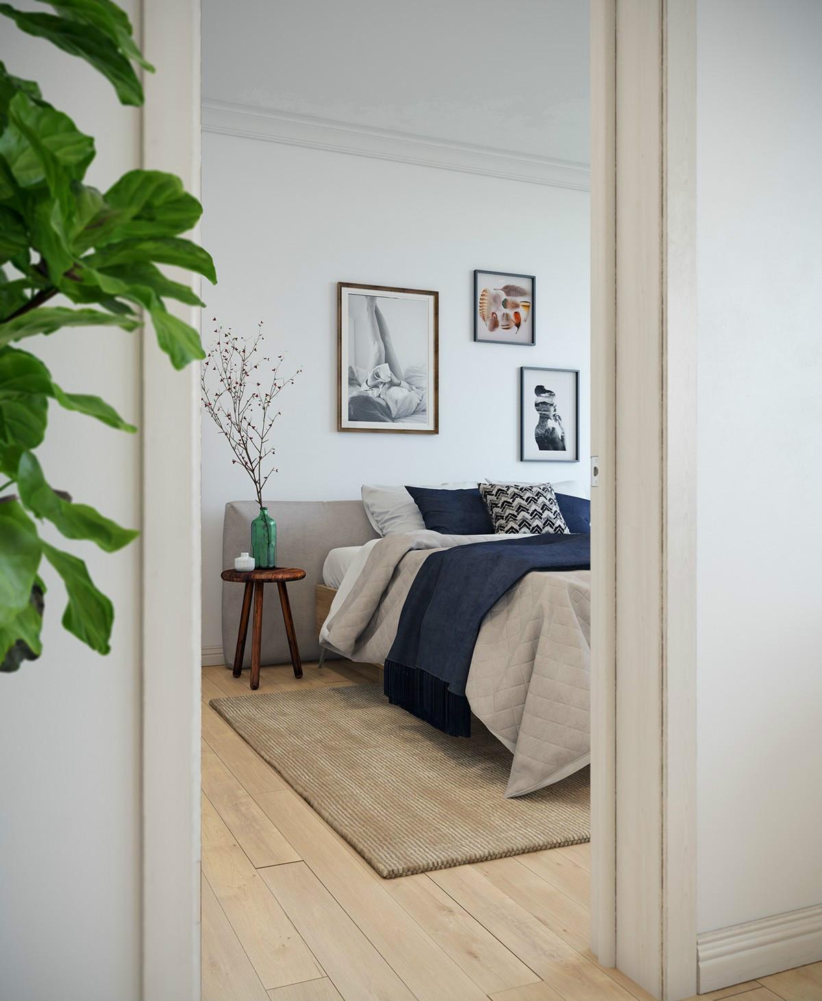 小户型一居室北欧风卧室背景墙装修效果图
