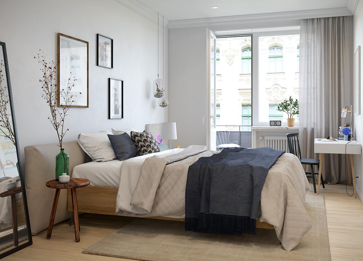 小户型一居室北欧风卧室装修效果图