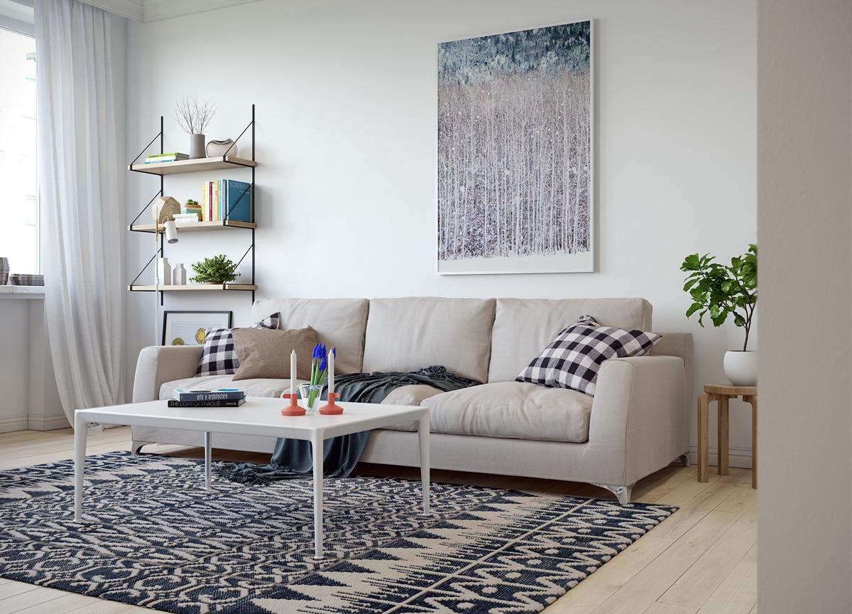 小户型一居室北欧风装修沙发背景墙效果图
