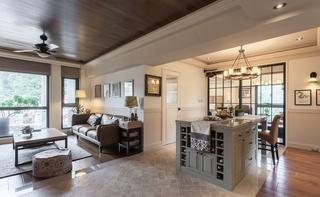 89㎡美式风格二居客厅吊顶装修效果图