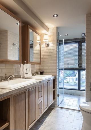 89㎡美式风格二居装修卫生间布局图