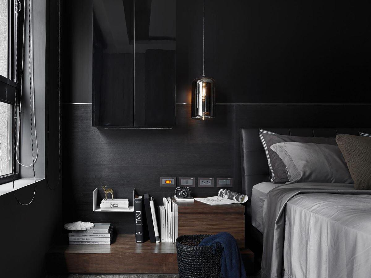 高级灰现代风格公寓装修卧室一角