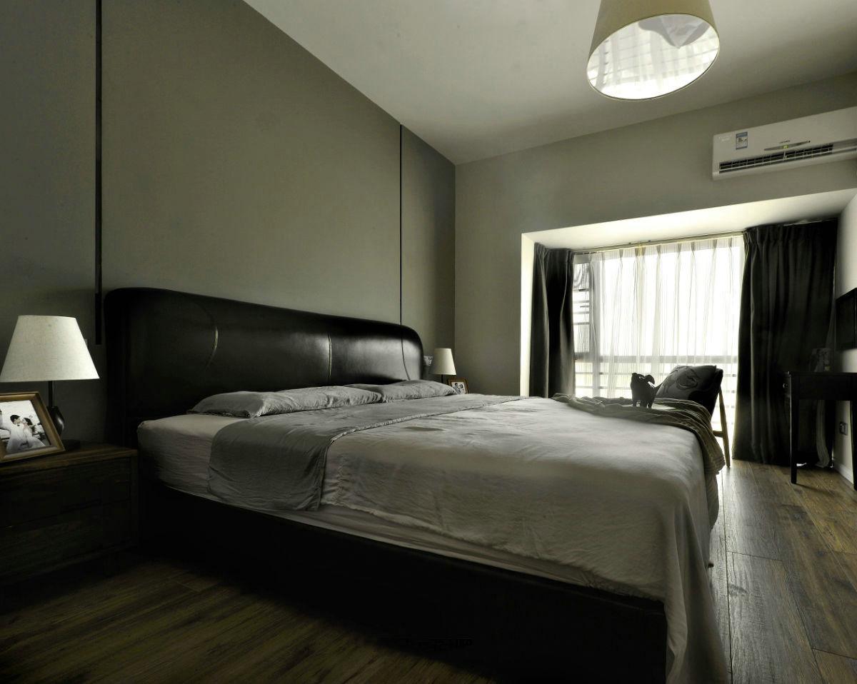 现代简约三居室装修床头背景墙效果图