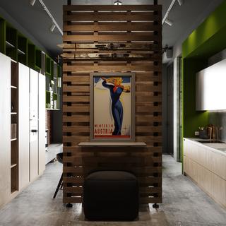 45平工业风公寓装修玄关隔断设计图