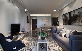 三居室现代风格客厅装修效果图