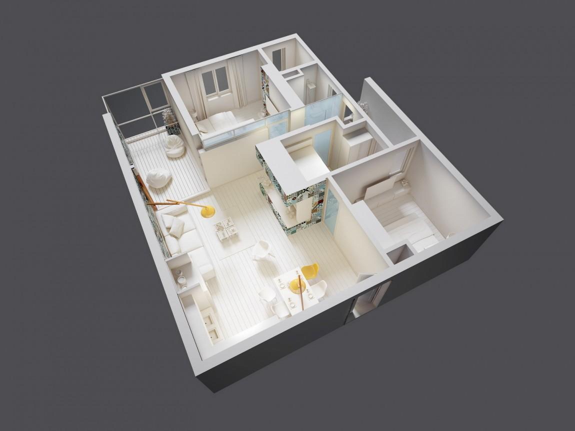 96㎡简约风格两居装修立体户型效果图
