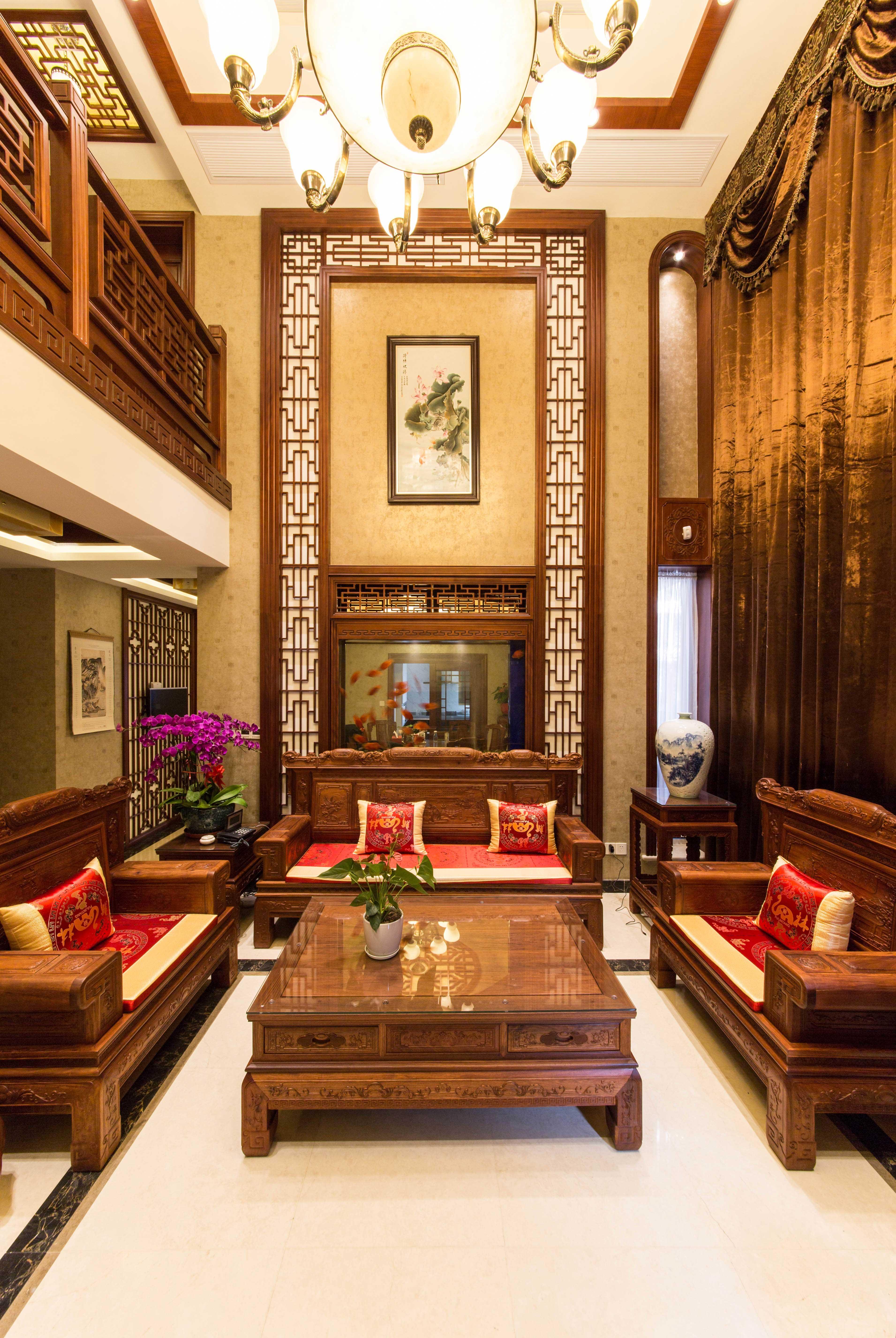 400平中式风格别墅客厅装修效果图