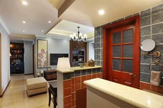 美式乡村二居装修卫生间玻璃门设计