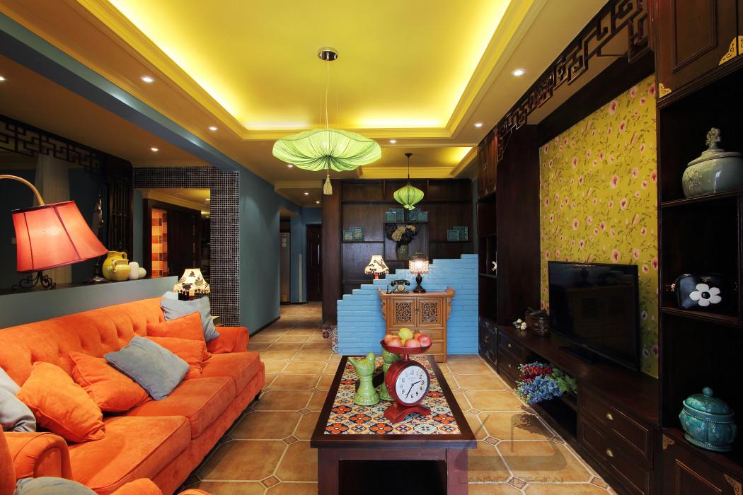 东南亚风格二居室客厅每日首存送20