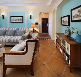 130平美式乡村风格装修客厅过道