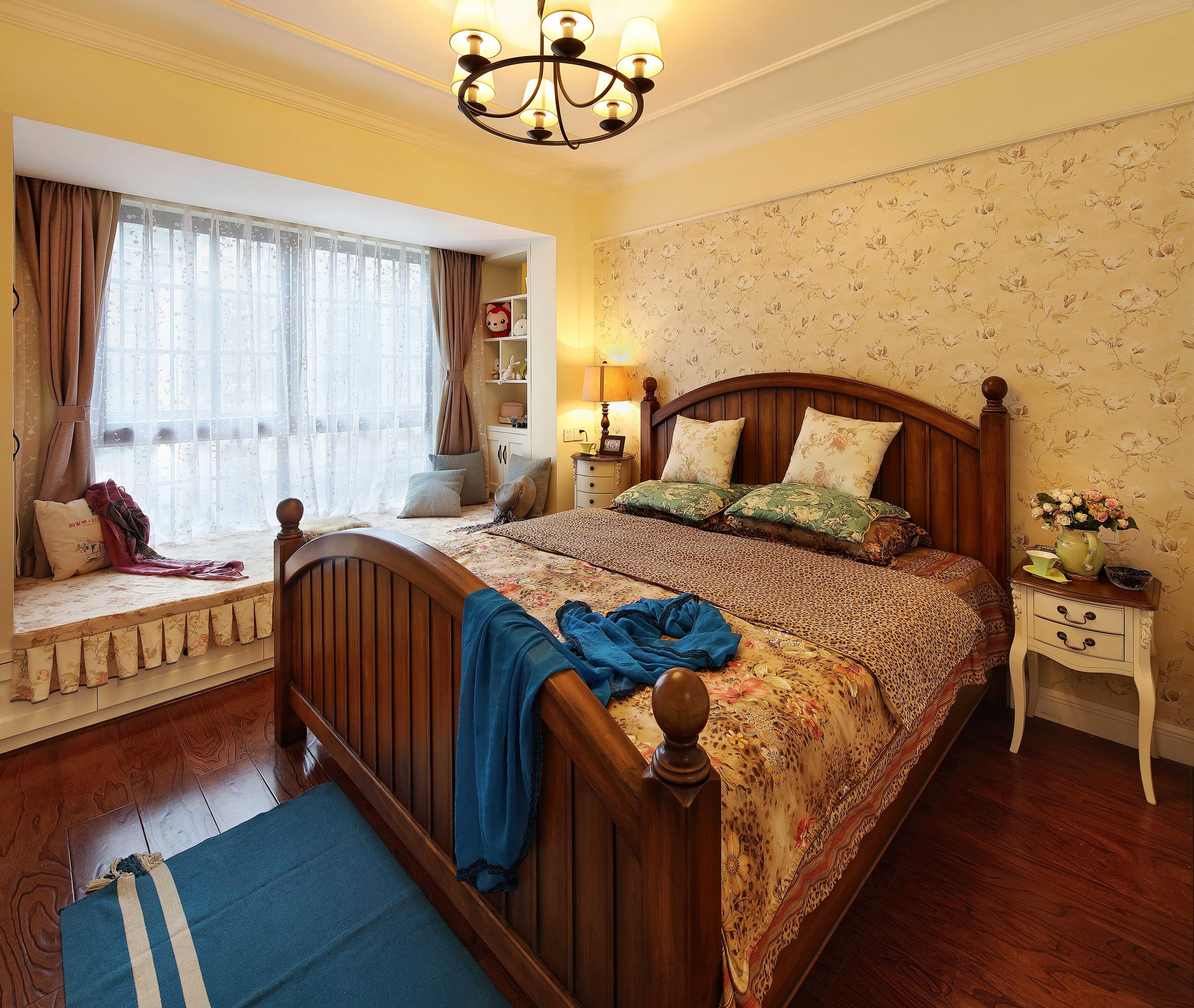 130平美式乡村风格卧室装修效果图