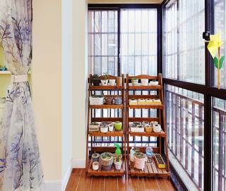 130平美式乡村风格装修阳台布置图