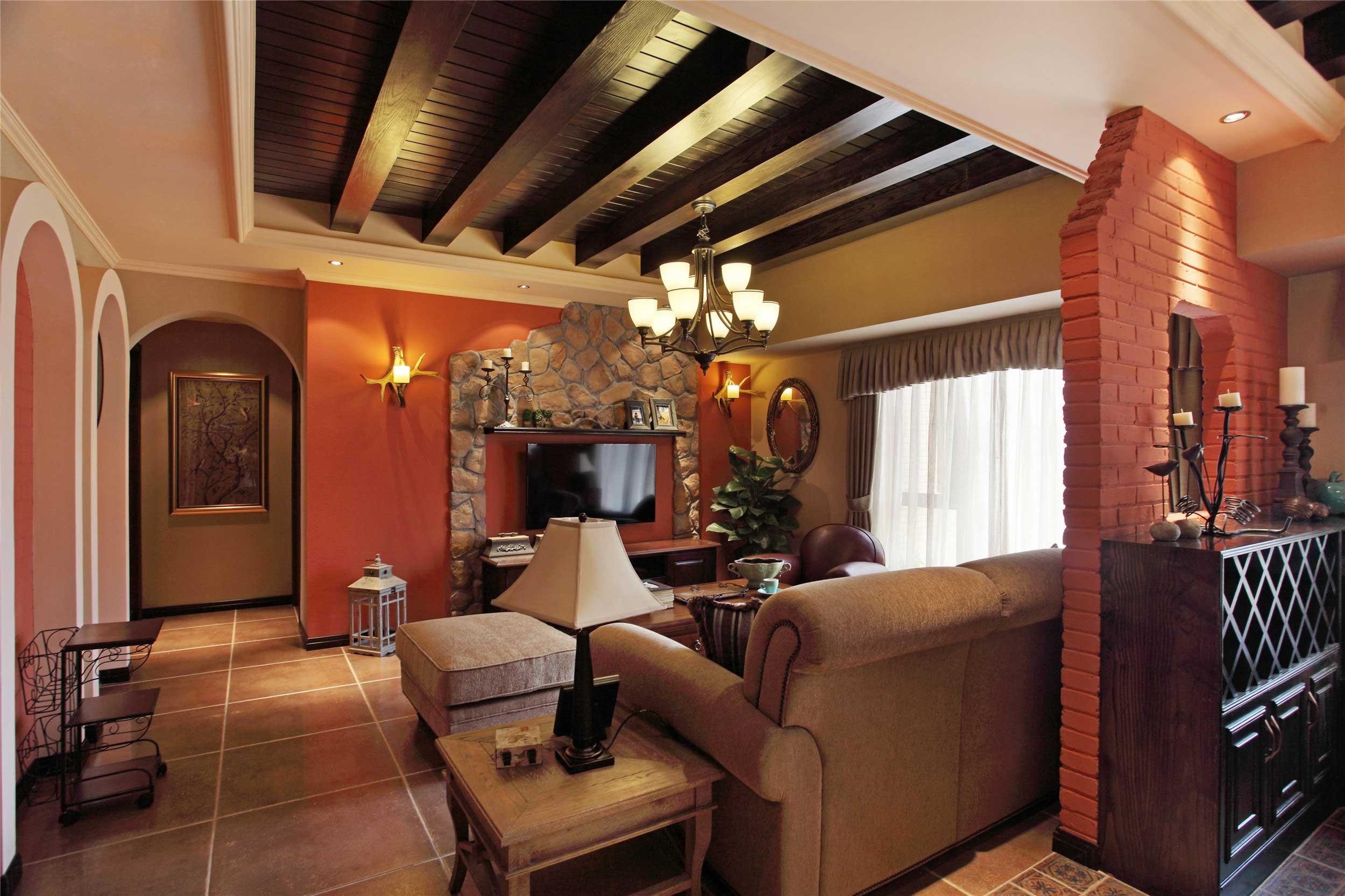 150平法式乡村风格客厅吊顶装修效果图