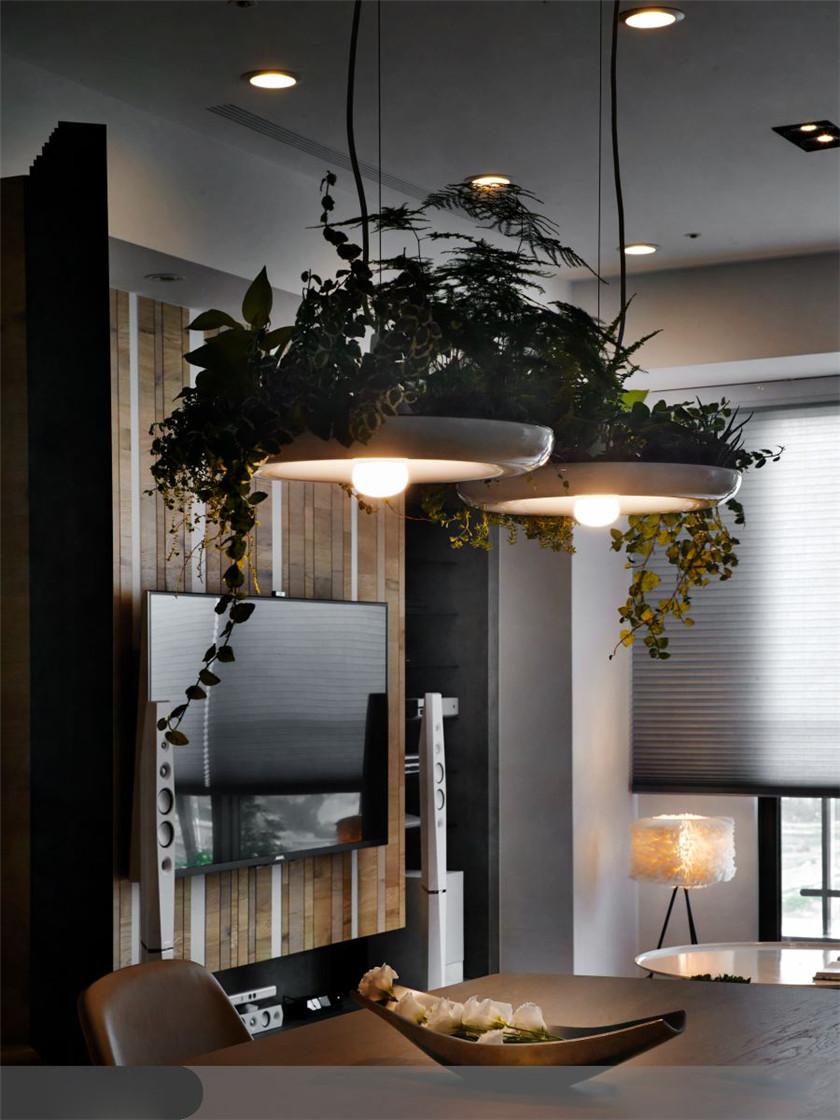 76平北欧风格二居装修绿植灯设计图