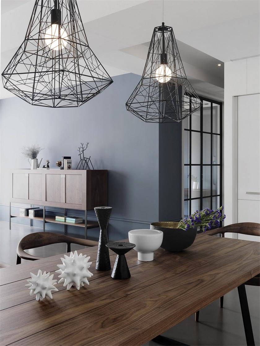 大户型北欧工业风装修餐桌布置图